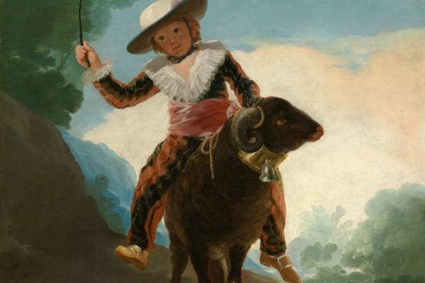 羊背上的男孩