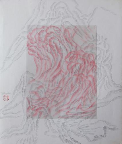 4 王水泊 WANG Shuibo_山水系列四_Landscape IV_纸本胶片素描 Pencil on paper and plastic_50×45 cm_1999_m