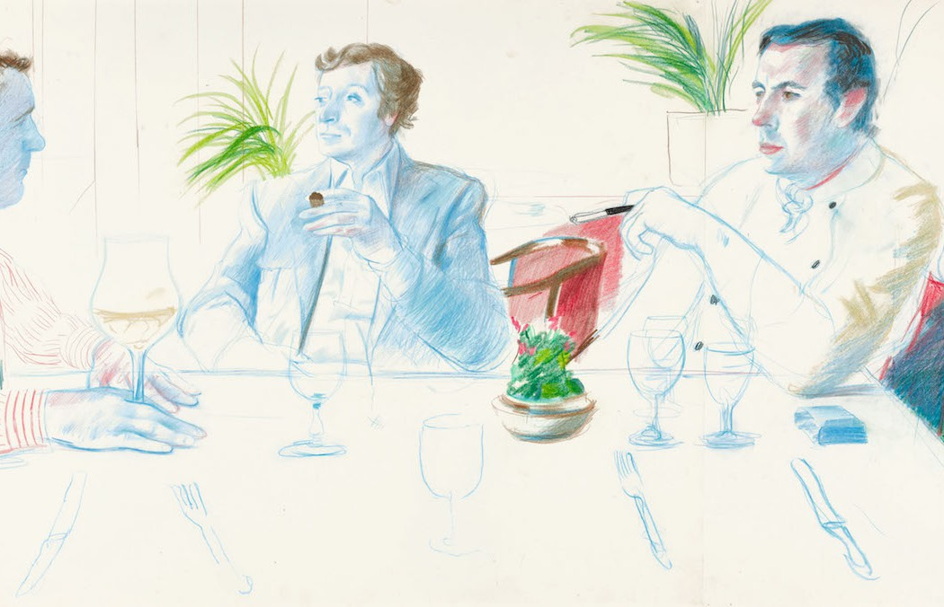 Lot 24, David Hockney, Peter Langan, Michael Caine and Richard Shepherd, Langan's Brasserie, 1977 (£300,000-500,000)
