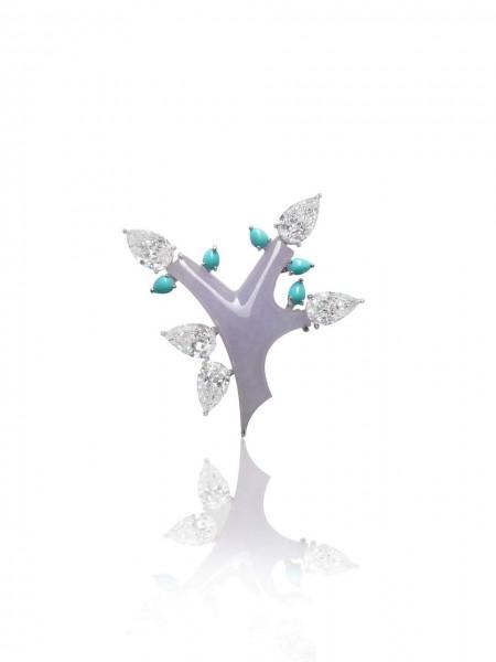 BR2014 Lavender Jadeite Tree Brooch