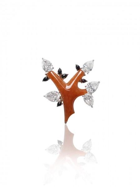 BR2017 Red Jadeite Tree Brooch