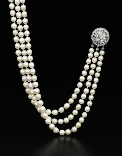 Important natural pearl and diamond necklace - on black - Royal Jewels from the Bourbon Parma Family - Sotheby's 14 November 2018