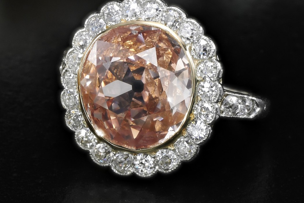 Impressive fancy orangy pink diamond ring - on black - Royal Jewels from the Bourbon Parma Family - Sotheby's 14 November 2018