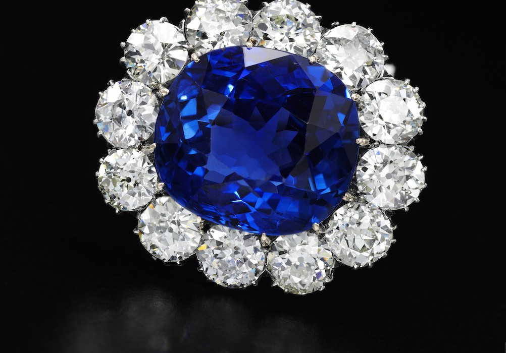 Impressive sapphire and diamond brooch -  on black -Royal Jewels from the Bourbon Parma Family - Sotheby's 14 November 2018
