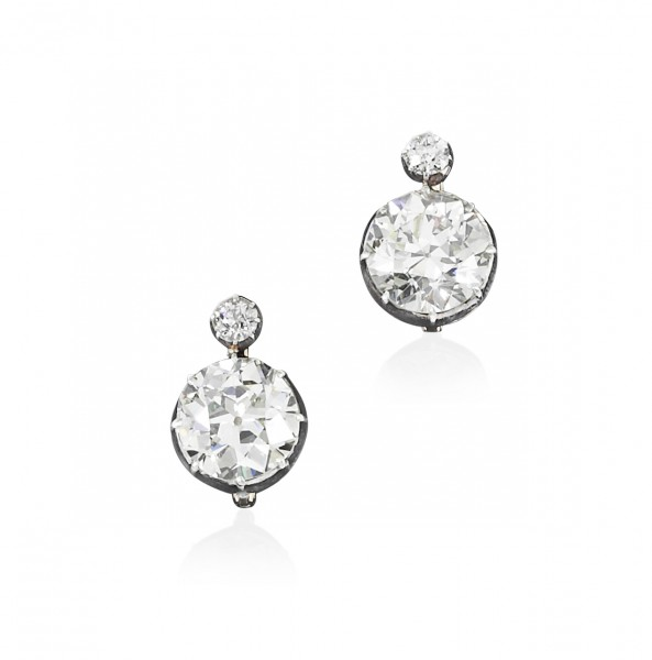 Pair of diamond earrings, circa 1890 - Sotheby's Geneva  14 November 2018