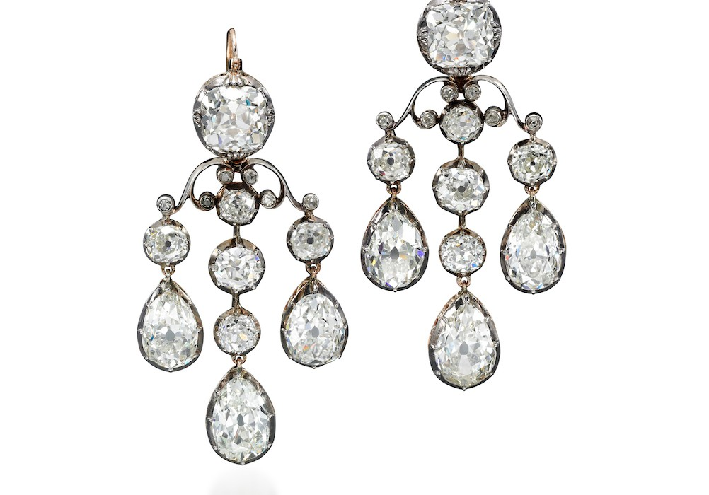 Pair of diamond pendent earrings - Royal Jewels from the Bourbon Parma Family - Sotheby's 14 November 2018