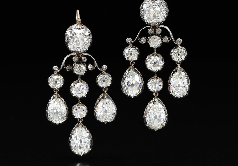 Pair of diamond pendent earrings  on black - Royal Jewels from the Bourbon Parma Family - Sotheby's 14 November 2018