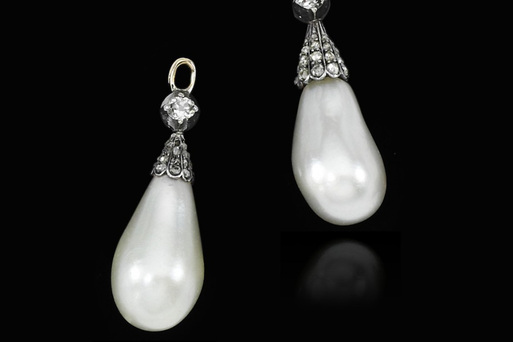 Pair of natural pearl and diamond pendants, 18th century - Royal Jewels from the Bourbon Parma Family - Sotheby's 14 Nov 2018