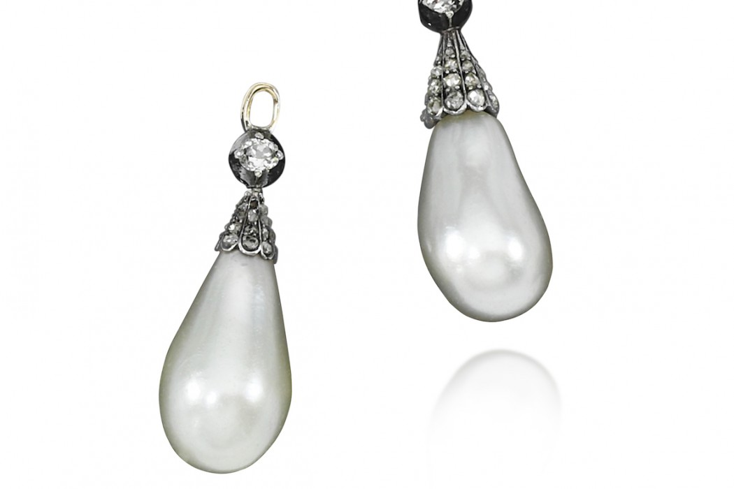 Pair of natural pearl and diamond pendants. 18th century - Royal Jewels from the Bourbon Parma Family - Sotheby's 14 November 2018