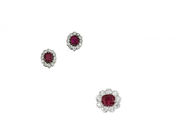 Pair of ruby and diamond earrings, late 19th, and a ruby and diamond brooch, early 20th century - Sotheby's Geneva 14 Nov 2018