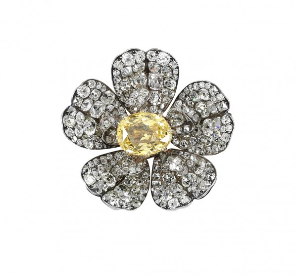Yellow sapphire and diamond brooch, late 19th century - Sotheby's Geneva 14 Nov 2018