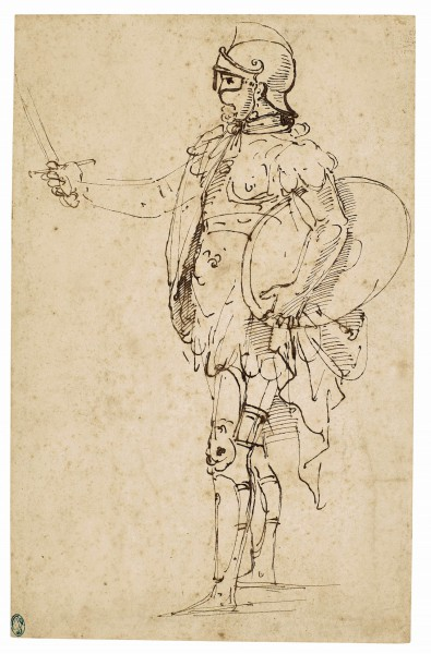 A Standing Soldier in Armor Seen in Profile, Raphael